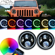 "For Lada 4x4 urban Niva 7"" LED Headlight Conversion Kit DRL Light Assembly For JK Hummer Trucks Headlamp(China)"