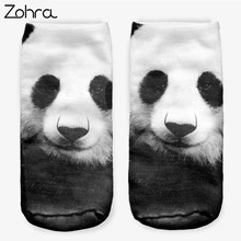 Zohra Hot Sales China Panda 3D Full Printing Women Men Low Cut Ankle Sock Lovely Sokker Hosiery Socks(China)