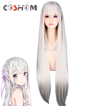 Coshome Re:Zero Emilia Satella Cosplay Wigs Life In A Different World From Zero 100cm Gray Long Hair With Braid(China)