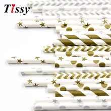 Buy 25pcs Fashion Gold/Silver 10Styles Design Paper Straws Drinking Straws Kids Birthday Wedding Party Decoration Supplies for $1.44 in AliExpress store