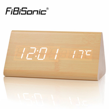 FiBiSonic Wood Wooden Digital LED Alarm Clock, Sound Control Desktop Clocks with Temperature,Electronic Display Home Decor