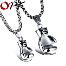OPK Black/Steel / Gold Color Fashion Mini Boxing Glove Necklace Boxing Jewelry Stainless Steel Cool Pendant For Men Boys Gift(China)