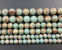 Natural blue green sea sediment jaspe r beads,jewelry making beads Imperial Jaspe r bead supplies 4mm 6mm 8mm 10mm 12mm 1strand(China)