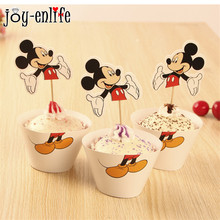 JOY-ENLIFE Mickey Mouse Theme Party Series 12pcs Cupcake Wrapper 12pcs Topper For Baby Shower Birthday Party Decoration Supplies