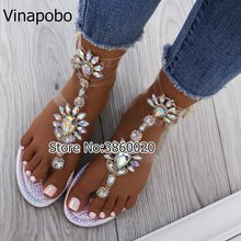 Vinapobo 2018 shoes woman sandals women Rhinestones Chains Flat Sandals  Thong Crystal Flip Flops sandals gladiator 06b93b7cbd2d