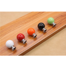 Colorful Cherry shape Round Ceramic Door Knobs Cabinet Drawer Kitchen Cupboard Furniture Pull Handles(China)