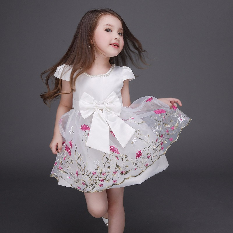princess girl embroidery dress designer girls party dresses with pearls decoration high street<br><br>Aliexpress