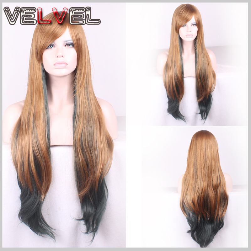 Fashion Heat Resistant Dark Gray Blonde Mixed Two Tone Gradient Wig Lady Wigs Long Straight High Quality Hair Wigs+Free wig cap<br><br>Aliexpress