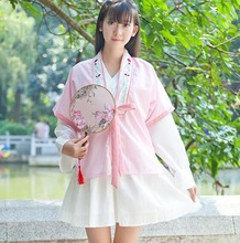 Cute Girls Chinese Style Vintage Strawberry Milk Flavour Dress Pink Outwear Set(China)