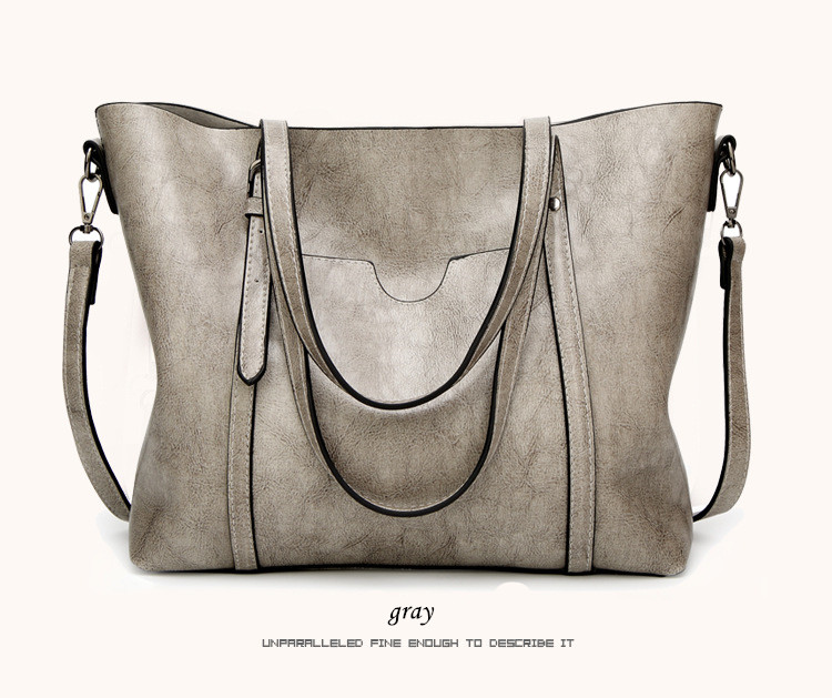 iStylishmall - Oil wax Women's Leather Handbags Luxury Lady Hand Bags With Purse Pocket