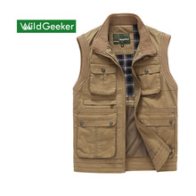 Wildgeeker Men's Vests Solid 100% Cotton Sleeveless Casual Waistcoat Jacket Vests Army Green Zipper Multi-pocket Plus Size M-3XL