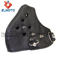 Metal Studded Steampunk Biker Men Half Face Mask Airsoft Wind Cool Punk Rivets Black Masquerade Leather Mask(China)