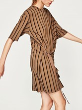 Fashion Summer Tan Stripe Lace Up T-shirt Dress Casual Loose O Neck Half Sleeve Tee Dresses