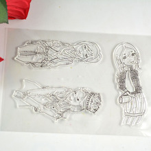 Coolhoo 1pc TPR silicon clear Stamp 3 lovely girls stamp DIY Scrapbooking/Card Making/ Decoration Supplies