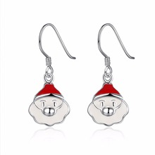 HERMOSA Jewelry new Christmas gift Santa Claus pattern silver enamel process 2 color selection earrings LKNSPCE837(China)