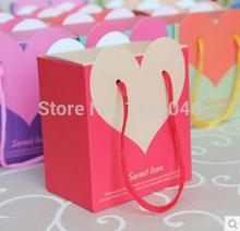 Free Shipping 20 X Creative Red Heart Paper Bag Candy Boxes Wedding Favor Gift Box Chocolate Box