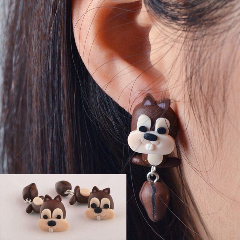 Handmade Polymer Clay Soft Cute Animal Pottery Earrings Women
