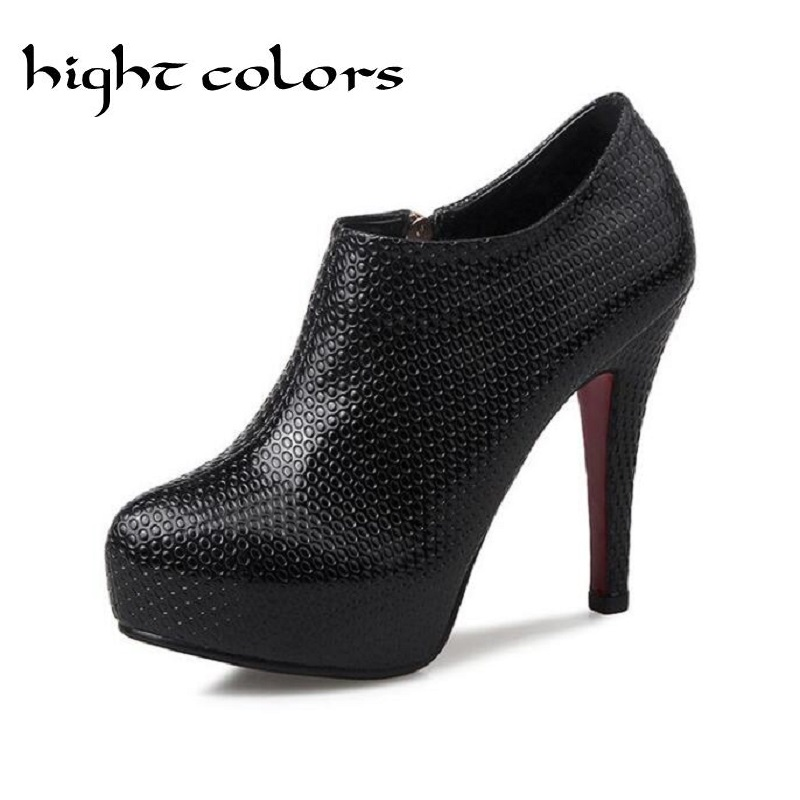 2017 Spring Autumn Sexy Platform Ankle Boots Black Red High Hels Ankle Boots Women Pumps Ladies Fashion Sapatos Feminions<br><br>Aliexpress