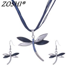 Fashion Jewelry Set Rope Chian Dragonfly Pendants & Necklaces Drop Earrings For Women Set Wedding Jewelry Sets Free Shipping Hot