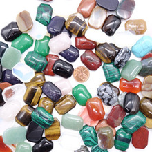 30pcs/lot Wholesale 18*25*12mm natural Gem stone mixed color Square cabochon beads no hole for Jewelry accessories Making(China)
