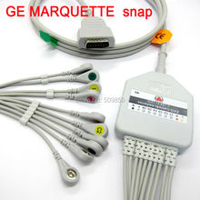 GE MARQUETTE EKG cable 10 lead ecg cable Snap on terminal
