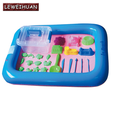 Inflatable Sand Tray Plastic Mobile Table For Children Kids Indoor Playing Sand Clay Color Mud Toys Accessories Multi-function(China)