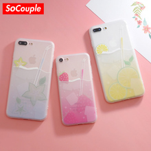 SoCouple Sweet Soft TPU Phone Case For iphone 6 6s 7 8 6/7/8 plus Fruit Juicy Strawberry Lemon Pattern Colorful Case Cover
