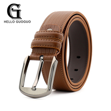 Hello guoguo Leather belt for men Designer belt Classic style Alloy buckle Solid Sample Pin buckle Cowhide Gift Multipurpose(China)