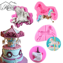 Pegasus Carousel Horse Candle Silicone Mold  Fondant Cake Decorating Tools Chocolate Candy Moulds Baking Molde de Silicone
