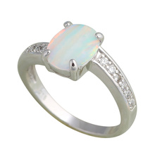 Wholesale Retail Designer Green Fire Opal Zircon Silver Ring USA Size #6.75 #7 #7.75 #8 Fashion Jewelry OR409A(China)