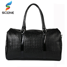 2017 Embossing Knitting Pattern leather travel bags for men women outdoor sports bag large capacity gym bag sac a main