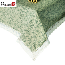 krorean cotton table cloth rectangular green leaves printed tablecloth with lace edge dustproof table covers home decoration