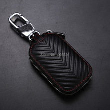 Genuine Leather Car Key Case Wallets for Ford Focus F-150 Escort Edge C-max Taurus Flex Territory Formula Super Duty(China)