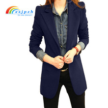 XSJPZH New Europe Style Spring Autumn Plus Size Women Elegant Long Sleeve Blazer Female Blazer Fashion Suit Jackets Black YQ004(China)