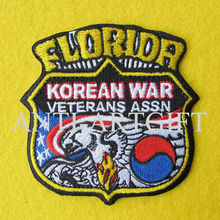Custom FLORIOR embroidered patch badge MOQ 1 PC Iron On the back merrow high quality(China)