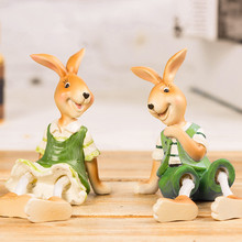 2pcs lot resin rabbit figurines statues small ornaments creative animal figurine decorative handicrafts easter bunny decors(China)