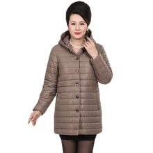 New Autumn Winter Cotton Coat Women Middle Age Slim Medium Long Padded Jacket Hooded Outerwear Mother Coat Plus Size PW608