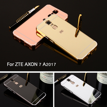 "5.5"" For ZTE Axon 7 case Mirror Metal Aluminum+Acrylic Hard Cover for Android 6.0 2K 2560X1440 phone Capa For ZTE AXON 7 A2017(China)"