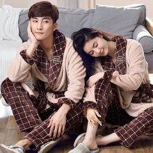Winter Warm Flannel Women's Pajamas Set Coral Fleece Lover Check Sleepwear Men Pyjamas Mujer Lady Casual Men Home Clothing 2XL(China)