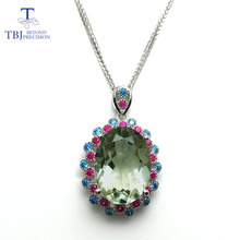TBJ,925 sterling silver big size pendant with natural green amethyst gemstone multi color necklace for women & girls as a gift(China)
