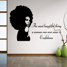 Tribal African Woman Girl Silhouette Wall Stickers Home Decor Living Room Black Inspirational Quotes Wall Decal Wallpaper Z907(China)