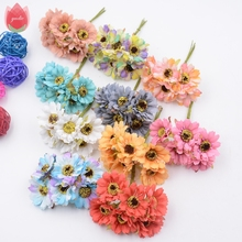 6pcs Silk Forest Style Daisy Artificial Flowers Bouquet For Wedding Party Decoration DIY Gift Box Accessories Rose Fake Flowers