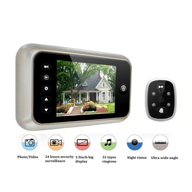 3.5 LCD Color Screen Doorbell Viewer Digital Wireless Door Peephole Camera Door Camera Video Record 120 Degrees Night vision<br>