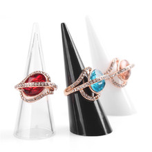 10pcs/lots Fashion Popular Mini Acrylic Jewelry Finger Ring Holder Triangle cone Jewelry Display Shelf(China)