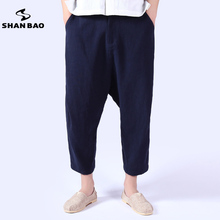 2017 spring and summer new Chinese wind men's linen casual pants thin section loose high-quality linen men's trousers M-4XL