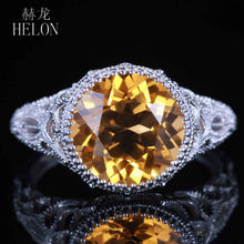 HELON Classical simple natural yellow crystal rings with 925 sterling silver natural citrine ring for women party fine jewelry