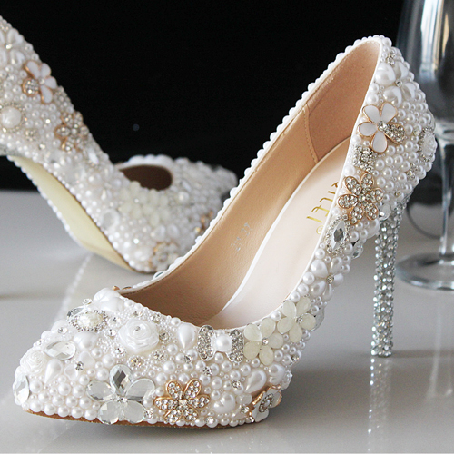 Crystal wedding shoes white pearl bridal shoes rhinestone handmade shoes thin soled pointed toe women pumps<br><br>Aliexpress