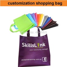 mini wholesale 300pcs!50%-60% discount shipping cost,custom shopping bag non woven,print your logo shopping bag,make size color(China)