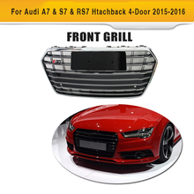 Black ABS Chrome Frame A7 Car Grills Front Hood Bumper Mesh Grille For Audi A7 2016 S7 Style