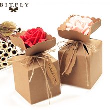 BITFLY 10pcs Kraft DIY Vintage paper Candy Boxes Gift Bag with rose Flower Chocolate Packaging Party Wedding Decoration Favors(China)